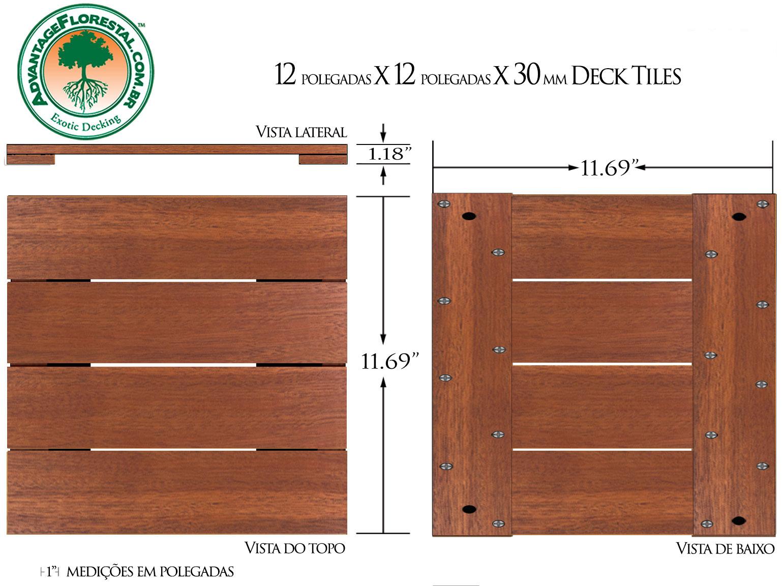 Andiroba Deck Tile 12in. x 12 in. x 30mm