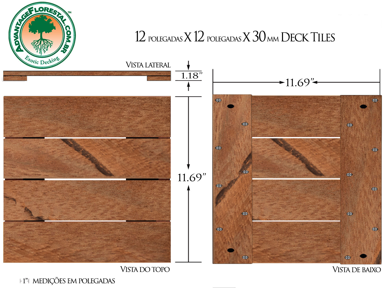 Angelim Vermehlo Deck Tile 12in. x 12 in. x 30mm