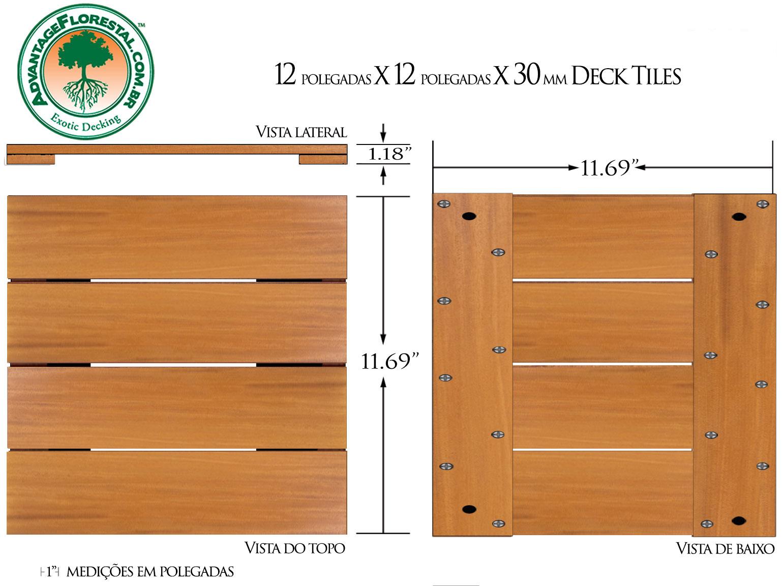 IPE Deck Tile 12in. x 12 in. x 30mm