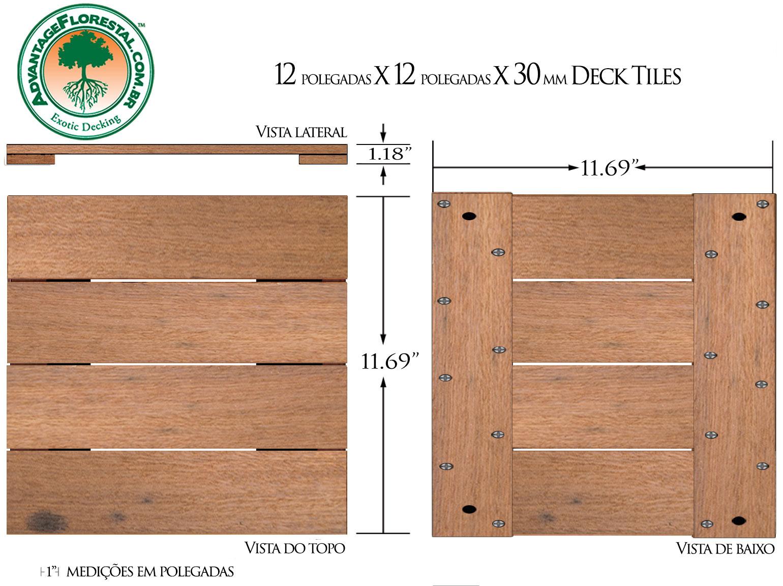 Itauba Deck Tile 12in. x 12 in. x 30mm