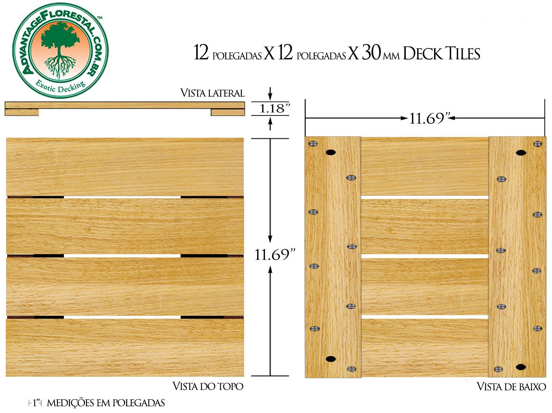 Tauari Deck Tile 12in. x 12 in. x 30mm