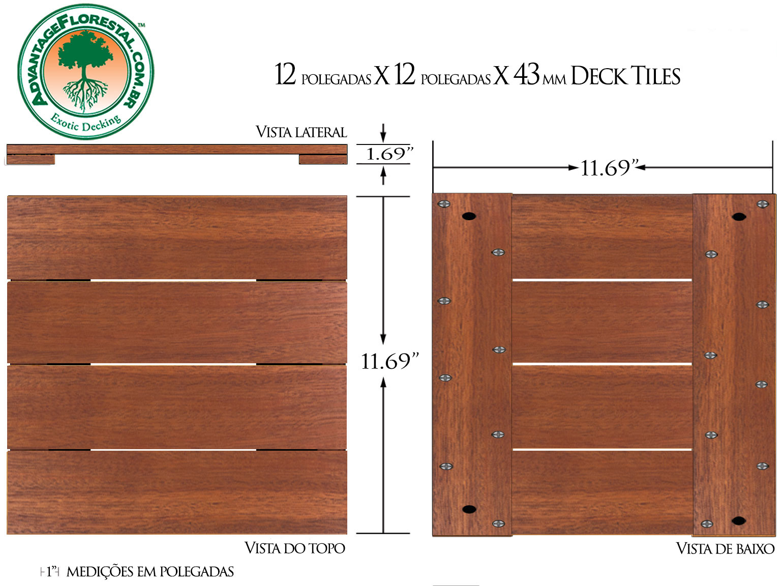 Andiroba Deck Tile 12in. x 12 in. 43mm