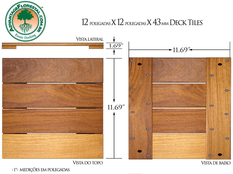 Cumaru Deck Tile 12in. x 12 in. 43mm