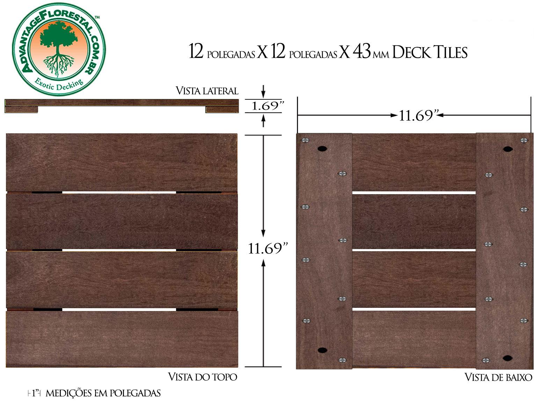 IPE Deck Tile 12in. x 12 in. 43mm