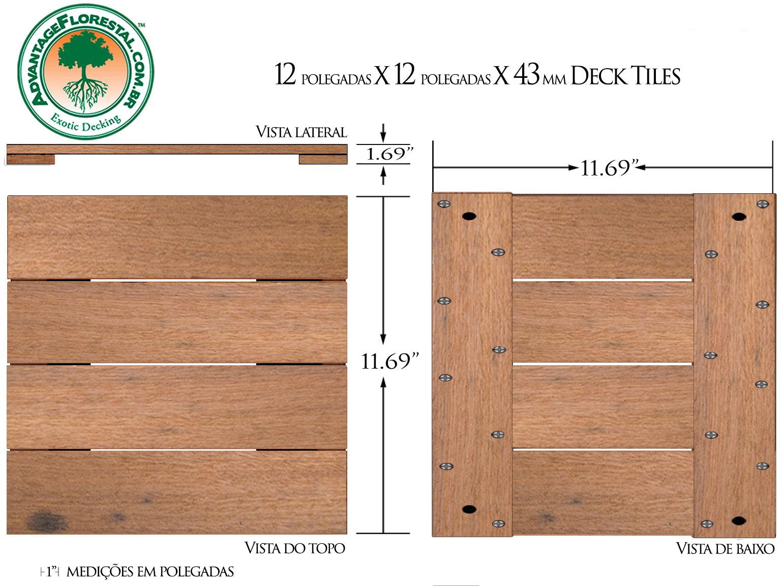 Itauba Deck Tile 12in. x 12 in. 43mm