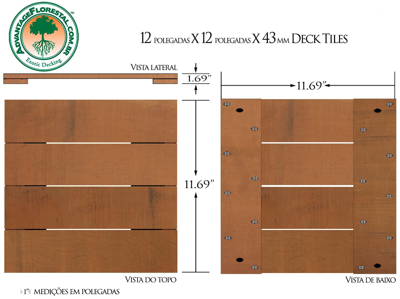 Jatoba Deck Tile 12in. x 12 in. 43mm