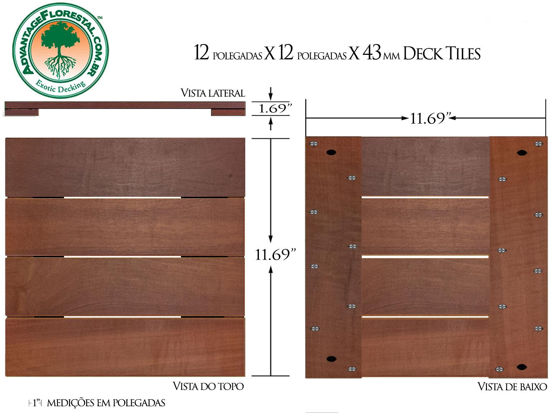 Massaranduba Deck Tile 12in. x 12 in. 43mm