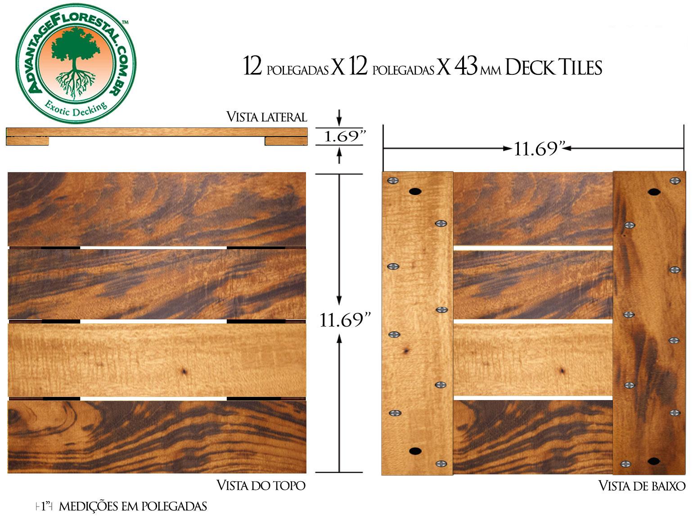 Tigerwood Deck Tile 12in. x 12 in. 43mm