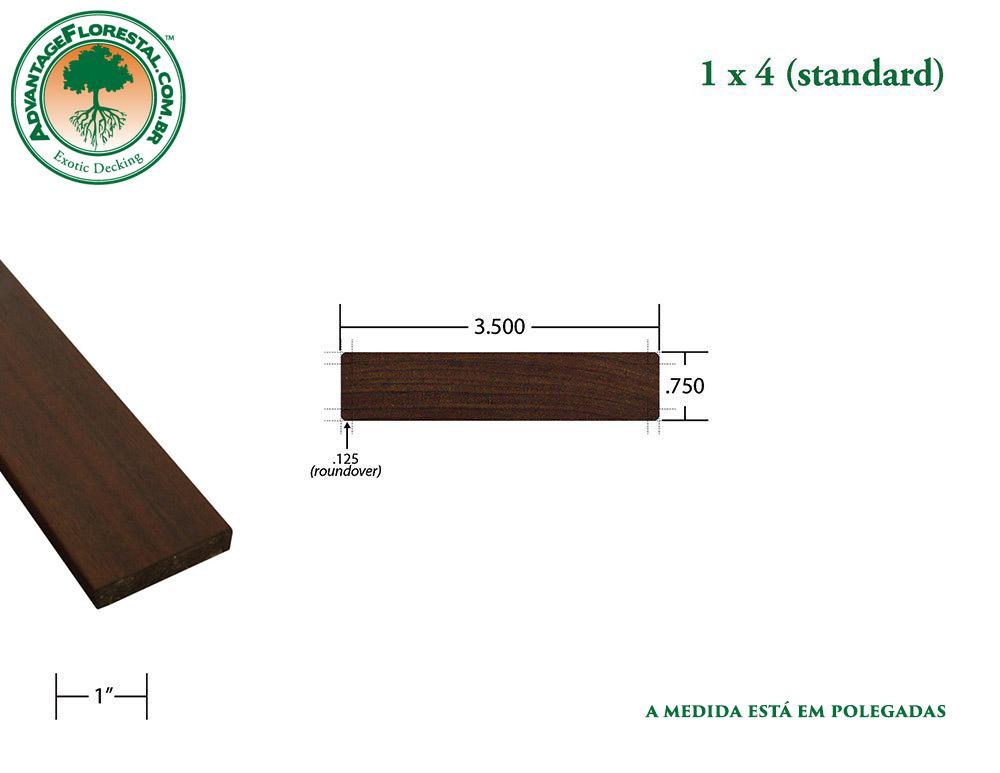 Exótico Padrão garapa Dimensional Decking Lumber 1 in. x 4 in.