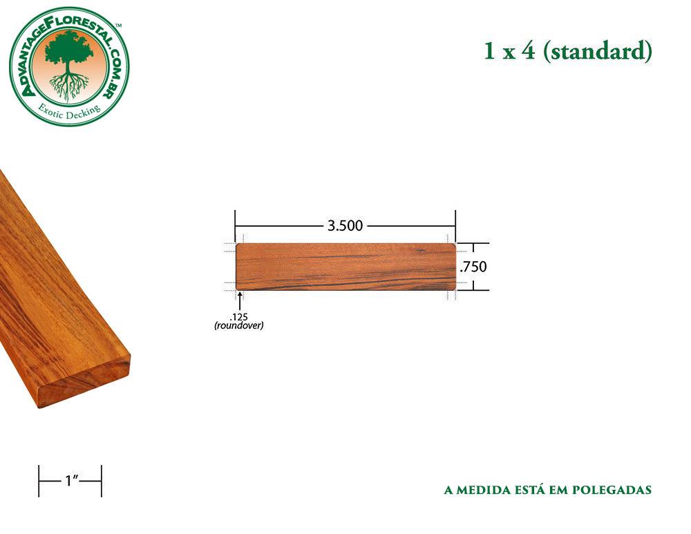 Exótico Padrão tigerwood Dimensional Decking Lumber 1 in. x 4 in.