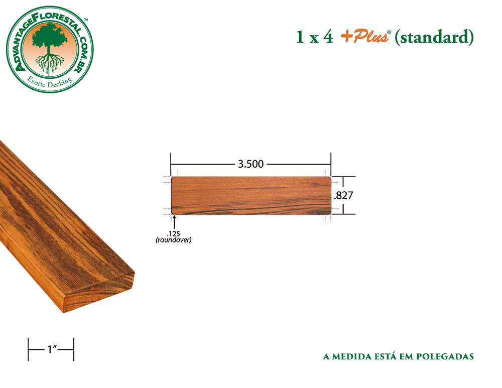 Exótico Padrão tigerwood Dimensional Decking Lumber 1in. x 4 in. plus