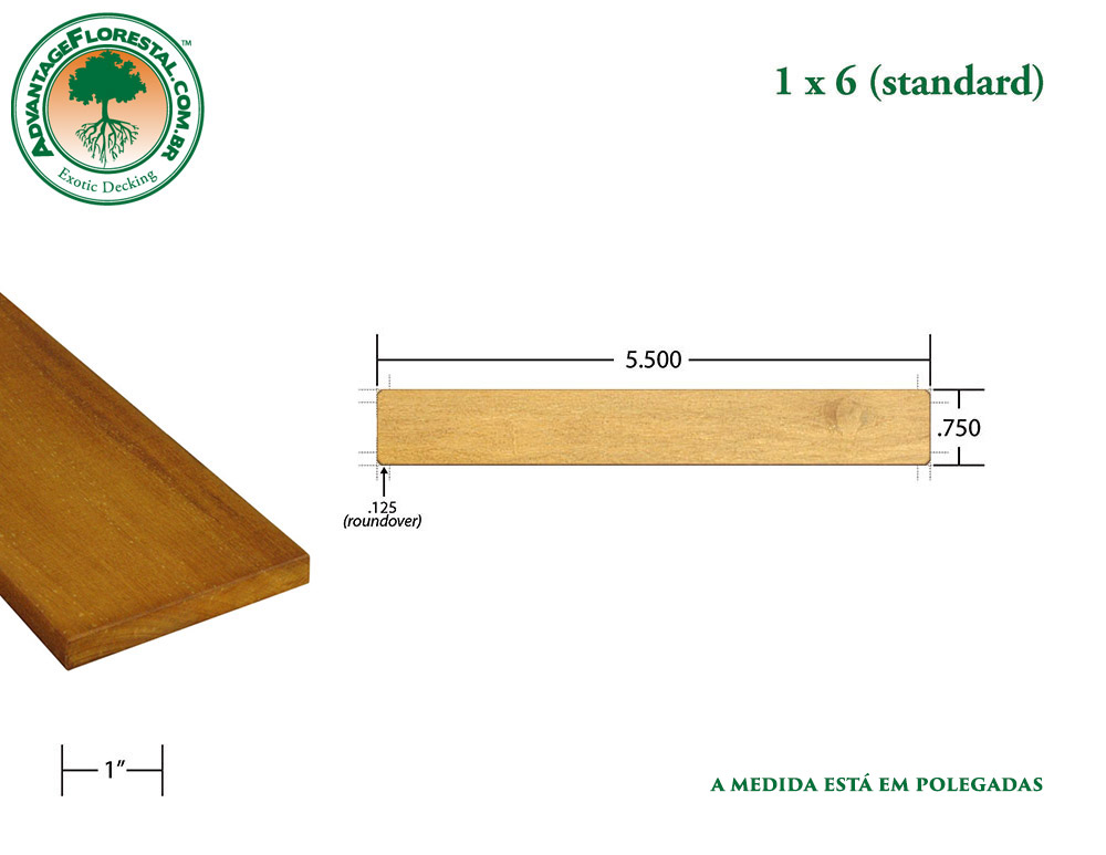 Exótico Padrão garapa Dimensional Decking Lumber 1 in. x 6in.