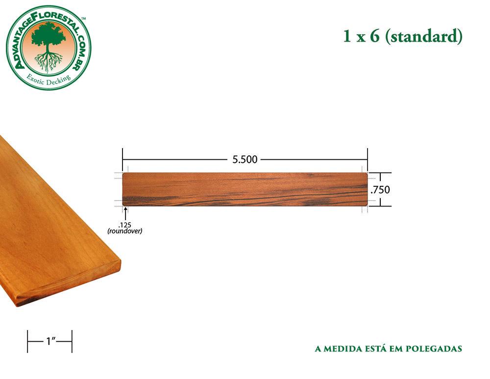 Exótico Padrão tigerwood Dimensional Decking Lumber 1 in. x 6in.