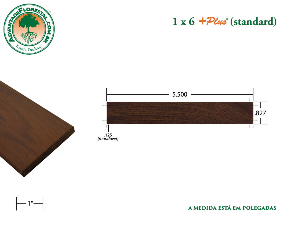 Exótico Padrão garapa Dimensional Decking Lumber 1 in. x 6 in. plus