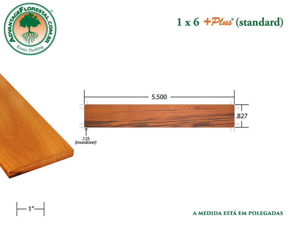 Exótico Padrão tigerwood Dimensional Decking Lumber 1 in. x 6 in. plus