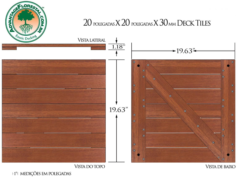 Andiroba Deck Tile 20 in. x 20 in. x 30mm