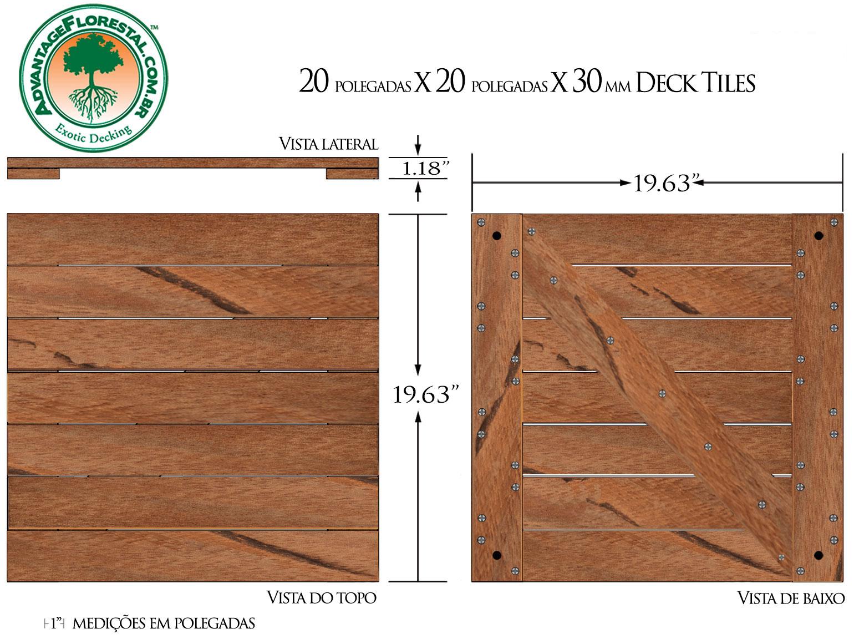 Angelim Vermehlo Deck Tile 20 in. x 20 in. x 30mm