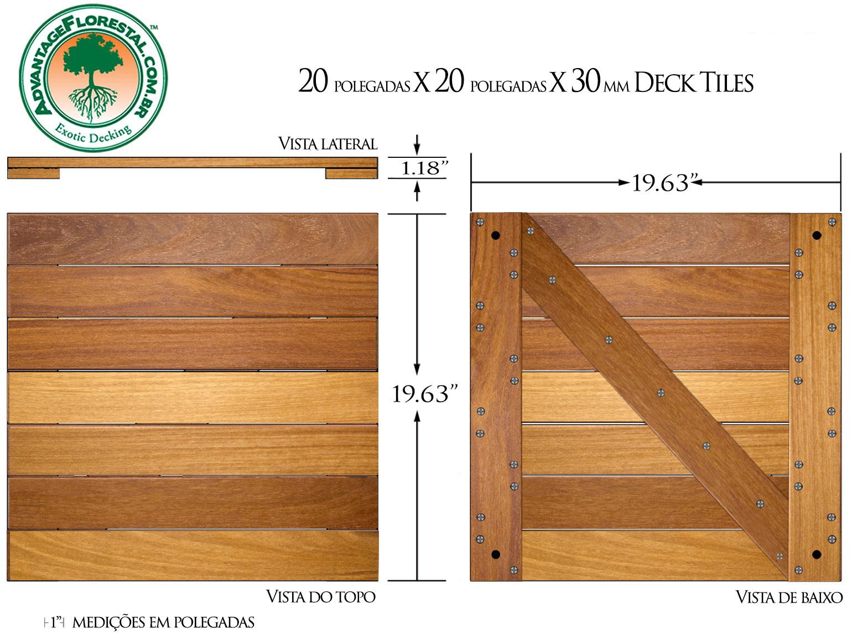 Cumaru Deck Tile 20 in. x 20 in. x 30mm