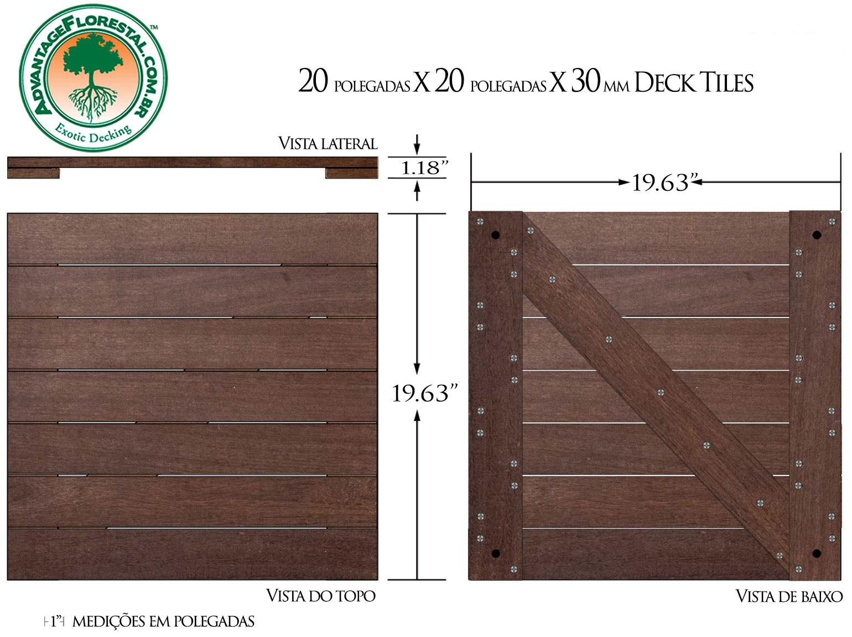IPE Deck Tile 20 in. x 20 in. x 30mm
