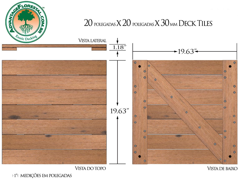 Itauba Deck Tile 20 in. x 20 in. x 30mm