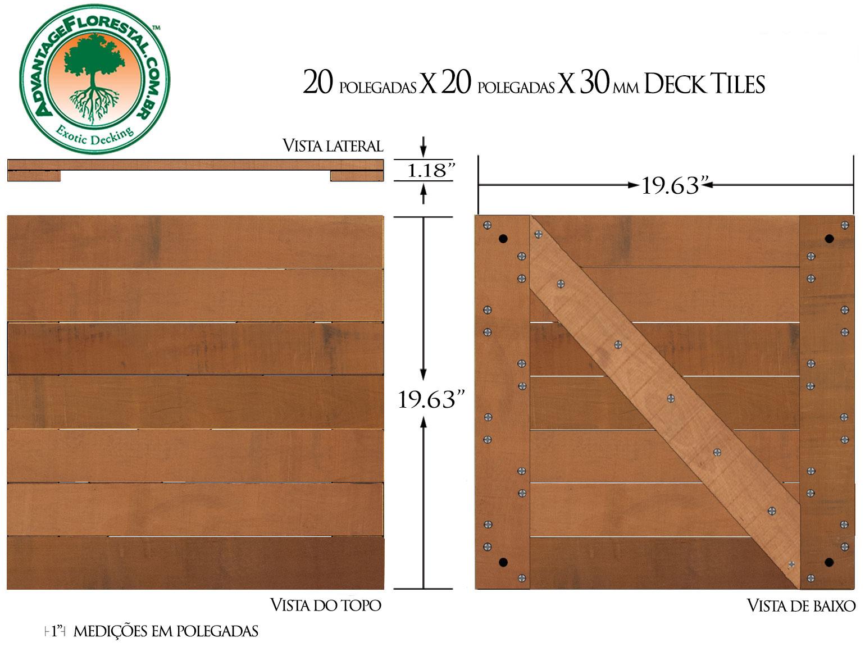 Jatoba Deck Tile 20 in. x 20 in. x 30mm