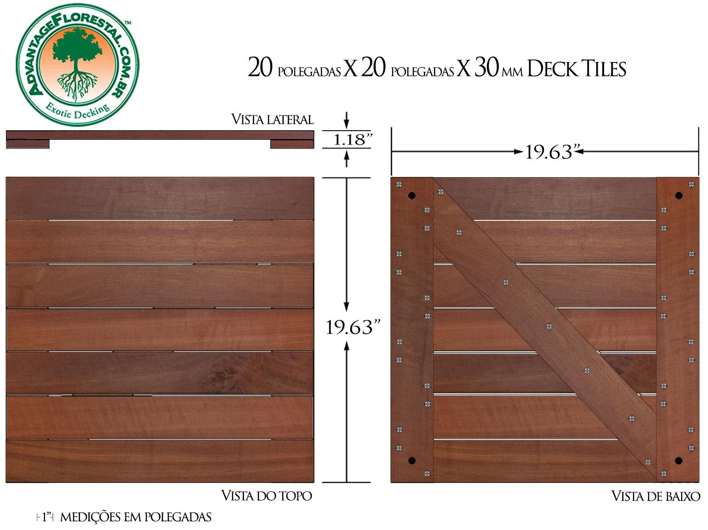 Massaranduba Deck Tile 20 in. x 20 in. x 30mm