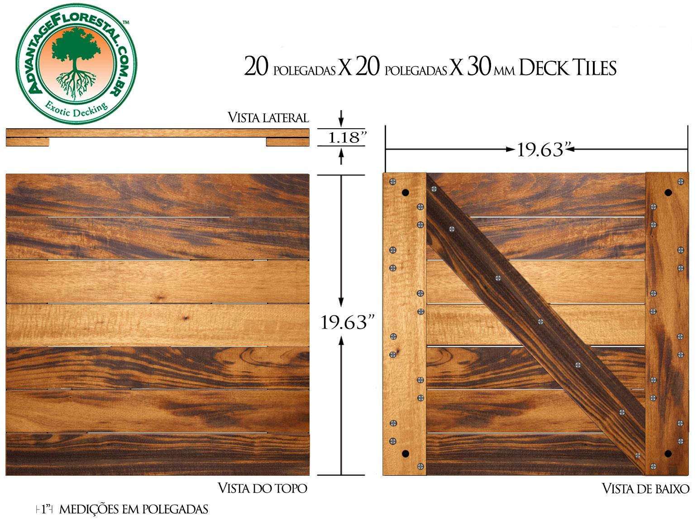 Tigerwood Deck Tile 20 in. x 20 in. x 30mm