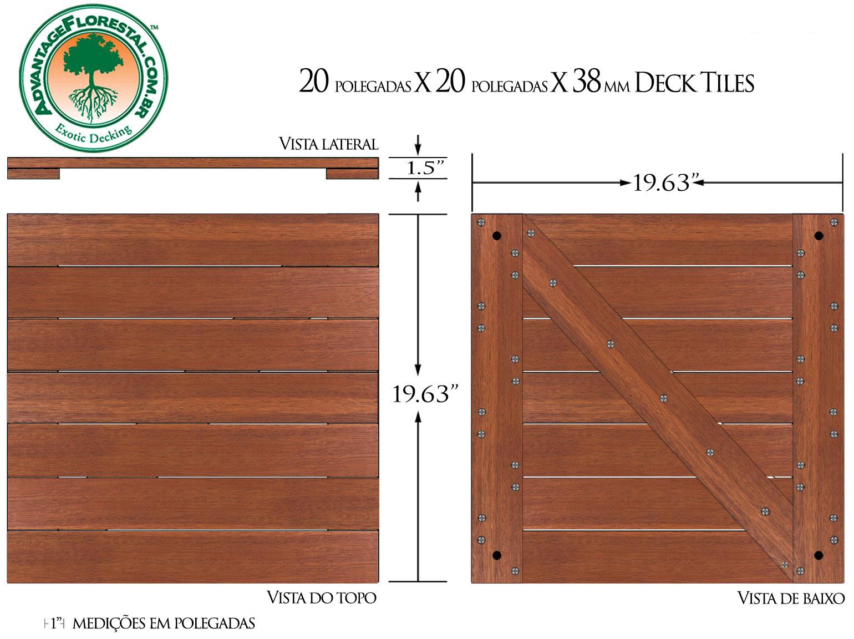 Andiroba Deck Tile 20 in. x 20 in. x 38mm