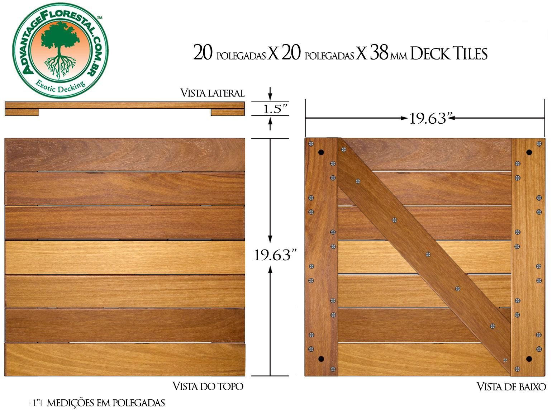 Cumaru Deck Tile 20 in. x 20 in. x 38mm