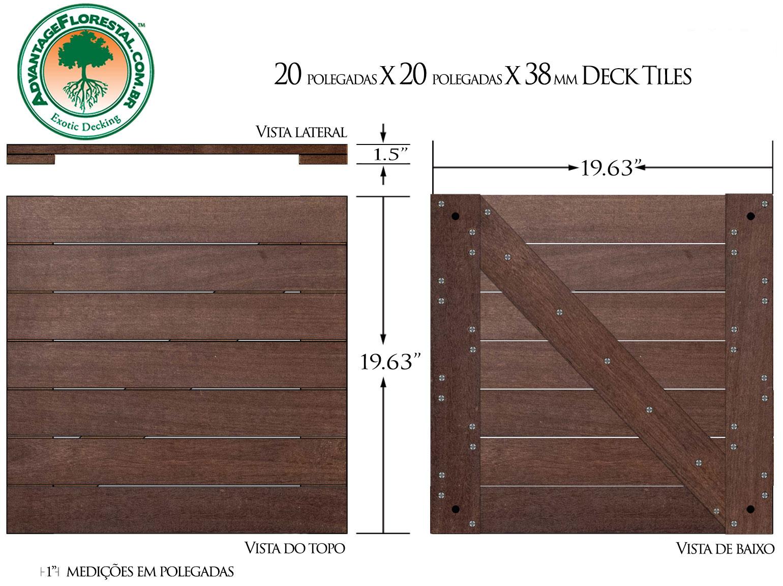 IPE Deck Tile 20 in. x 20 in. x 38mm