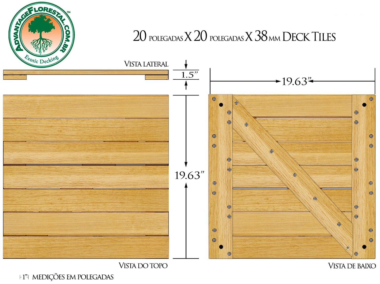 Tauari Deck Tile 20 in. x 20 in. x 38mm
