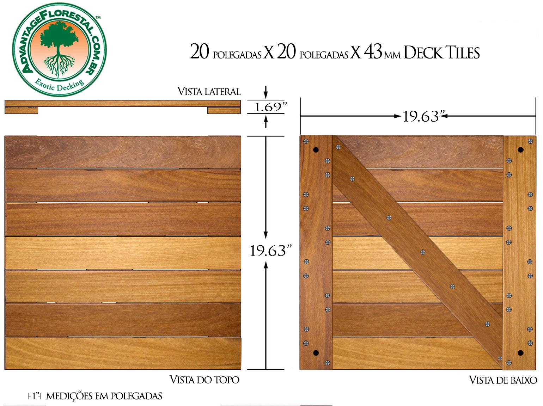 Cumaru Deck Tile 20 in. x 20 in. x 43mm