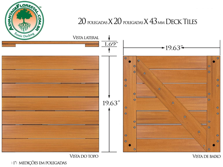 Garapa Deck Tile 20 in. x 20 in. x 43mm