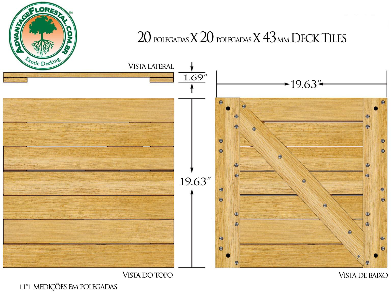 Tauari Deck Tile 20 in. x 20 in. x 43mm