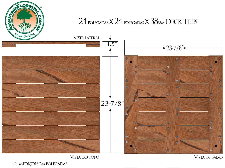 Angelim Vermehlo Deck Tile 24 in. x 24 in. x 38mm