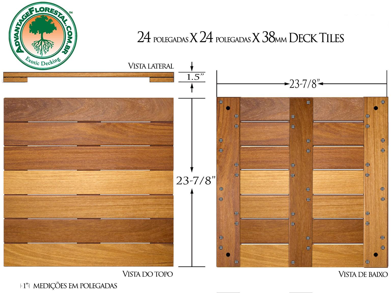 Cumaru Deck Tile 24 in. x 24 in. x 38mm