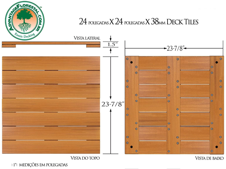 Garapa Deck Tile 24 in. x 24 in. x 38mm