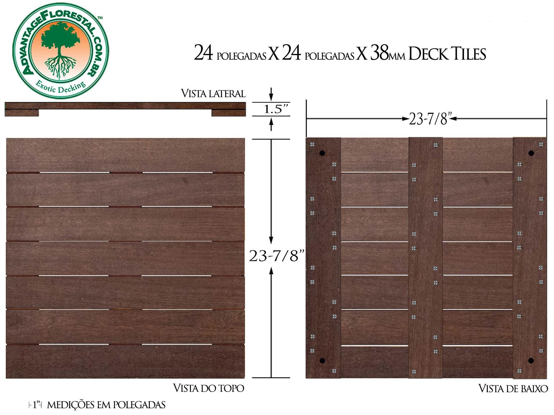 IPE Deck Tile 24 in. x 24 in. x 38mm