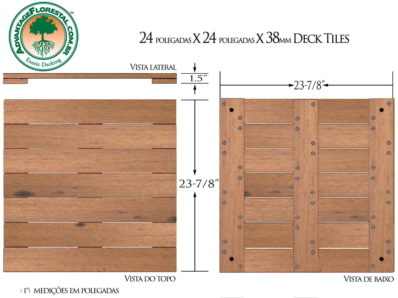 Itauba Deck Tile 24 in. x 24 in. x 38mm