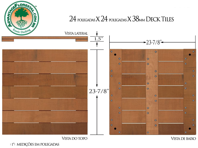 Jatoba Deck Tile 24 in. x 24 in. x 38mm