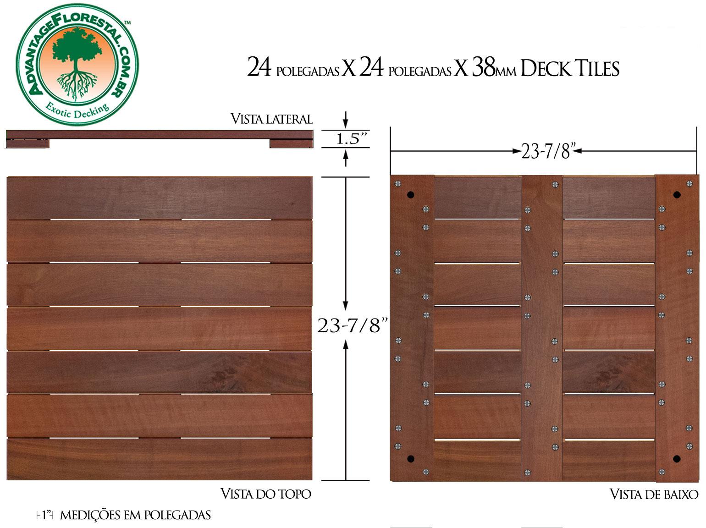 Massaranduba Deck Tile 24 in. x 24 in. x 38mm