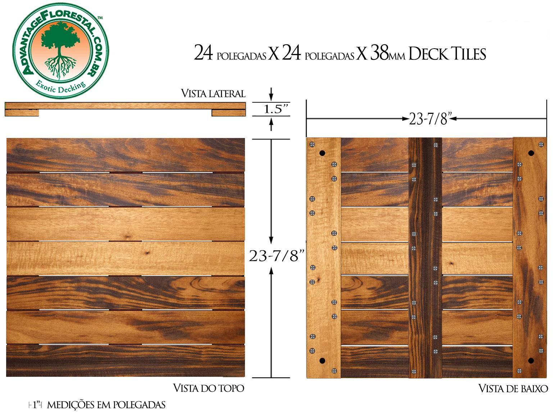 Tigerwood Deck Tile 24 in. x 24 in. x 38mm