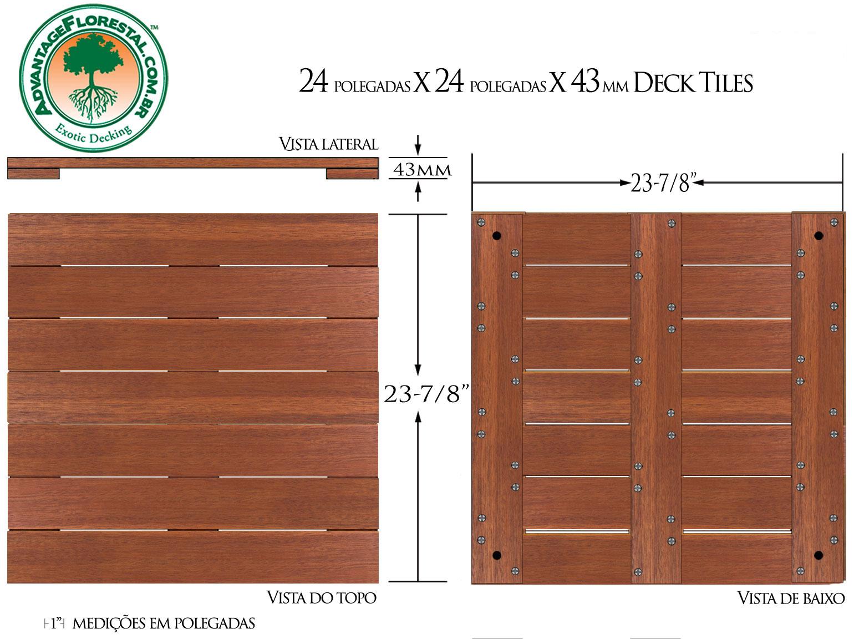 Andiroba Deck Tile 20 in. x 20 in. x 43mm