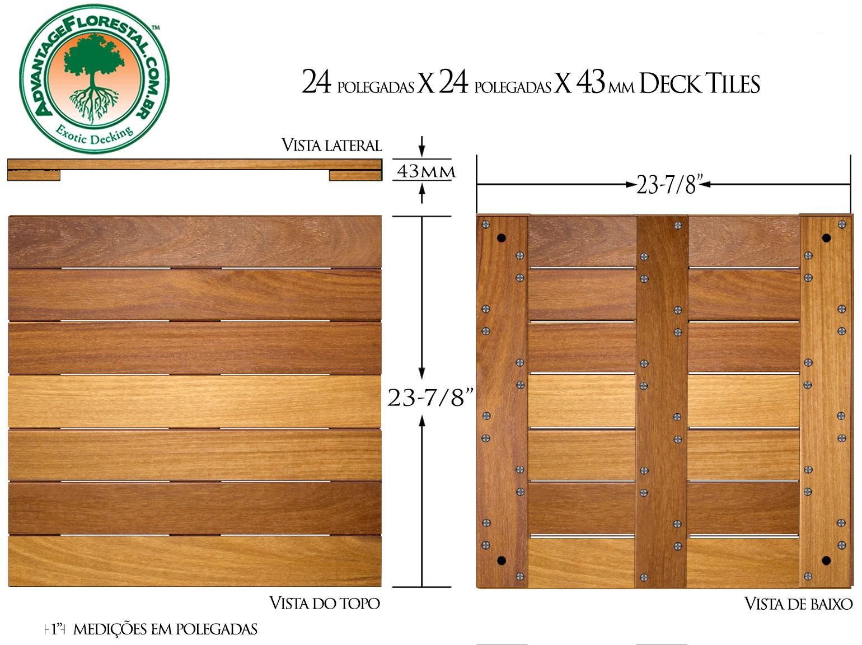 Cumaru Deck Tile 24 in. x 24 in. x 43mm