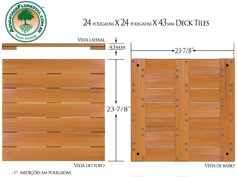 Garapa Deck Tile 24 in. x 24 in. x 43mm