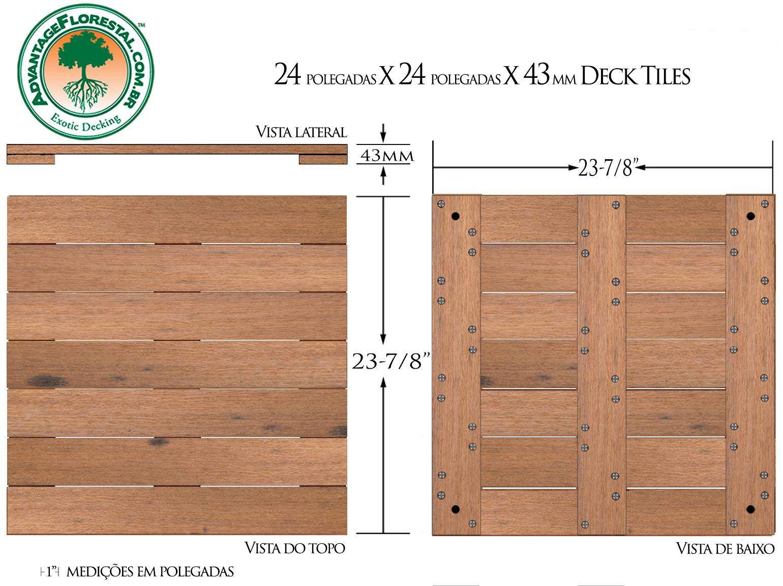 Itauba Deck Tile 24 in. x 24 in. x 43mm