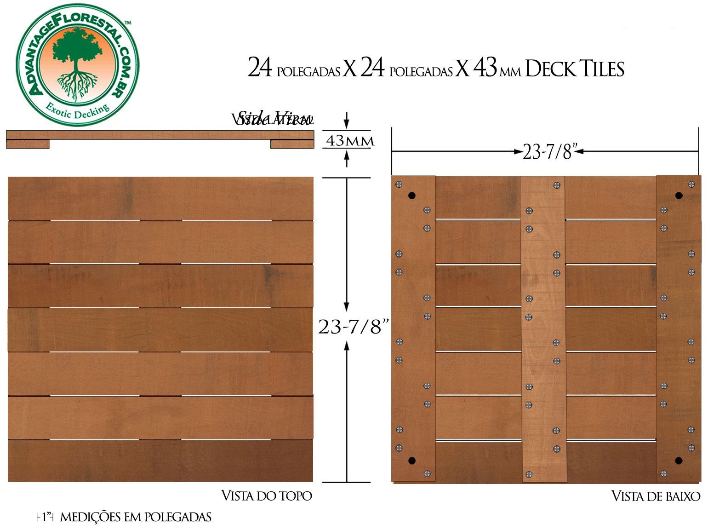Jatoba Deck Tile 24 in. x 24 in. x 43mm