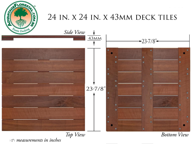 Massaranduba Deck Tile 24 in. x 24 in. x 43mm