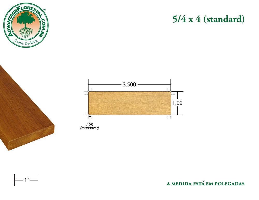 Exótico Padrão garapa Dimensional Decking Lumber 5/4 in. x 4 in.