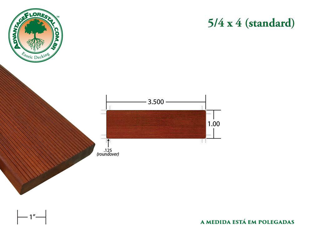 Exótico Padrão massaranduba Dimensional Decking Lumber 5/4 in. x 4 in.